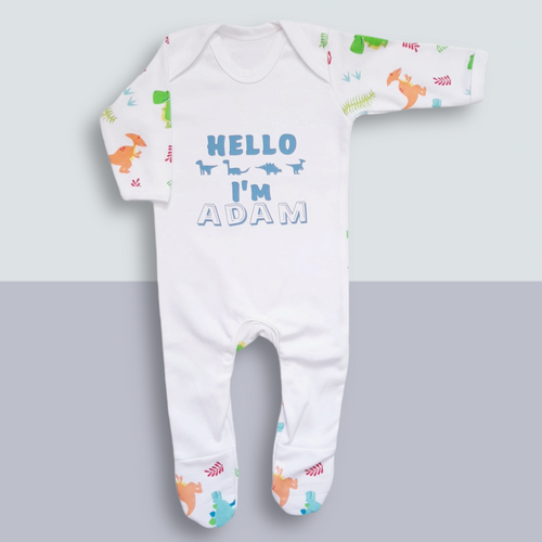 Personalised baby sleepsuit - Dinosaur baby personalised - Ema and Boo