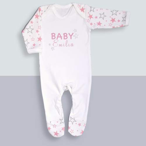 Personalised baby girl gifts - Personalised Sleepsuit - Ema and Boo