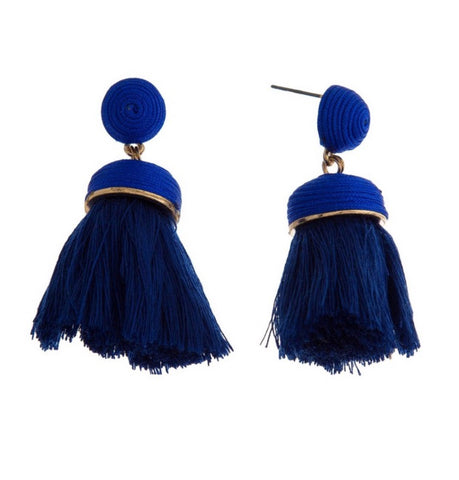 Eden Tassel Earrings (Blue) - Chic Society Boutique