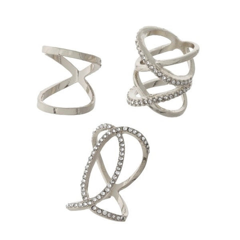 Crossed Ring Set Silver - Chic Society Boutique