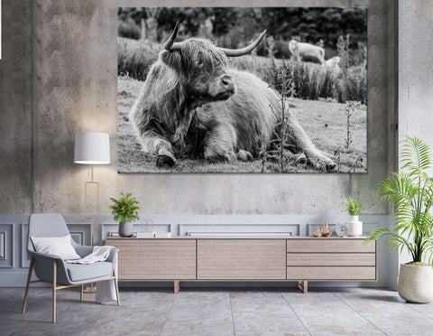 Black & White Highland Cow №04130 Ready to Hang Canvas Print