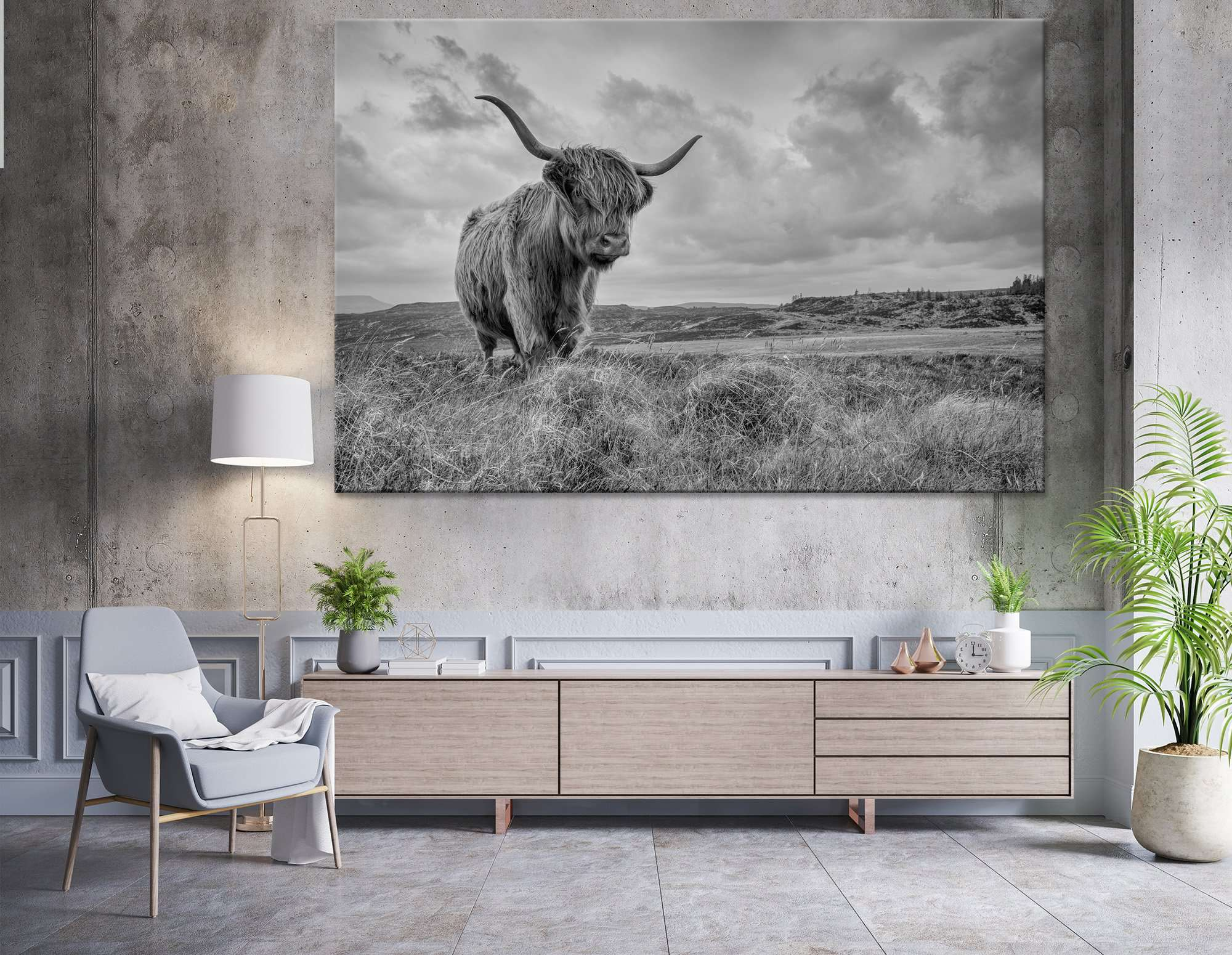 B&W Highland Cow №04125 Ready to Hang Canvas Print