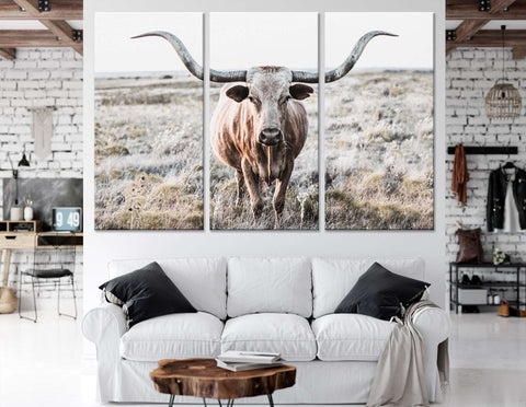 Longhorn Cow show off horns №04133 Ready to Hang Canvas Print