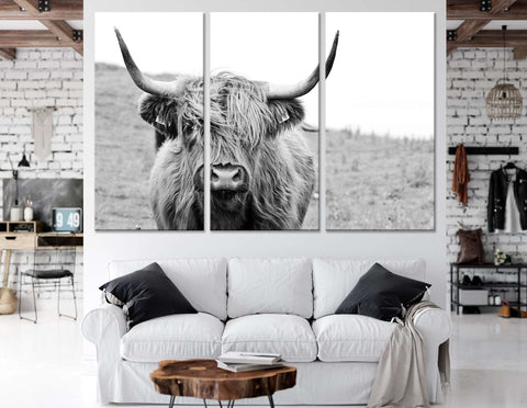Black and White Highland Cow №04124 Ready to Hang Canvas Print