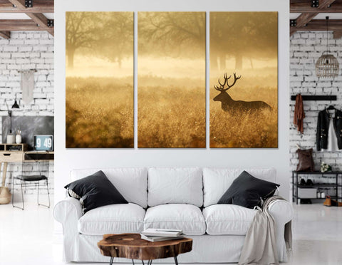 Silhouette of a red deer stag in the mist №04140 Ready to Hang Canvas Print
