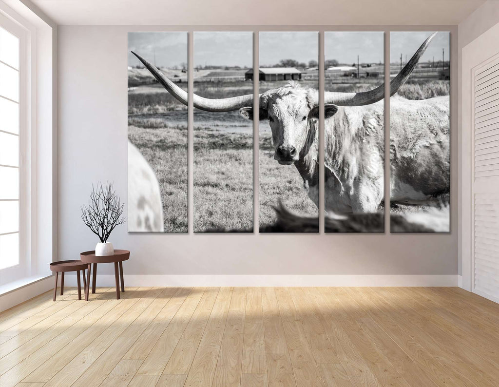 Texas Longhorn at country home ranch №04136 Ready to Hang Canvas Print