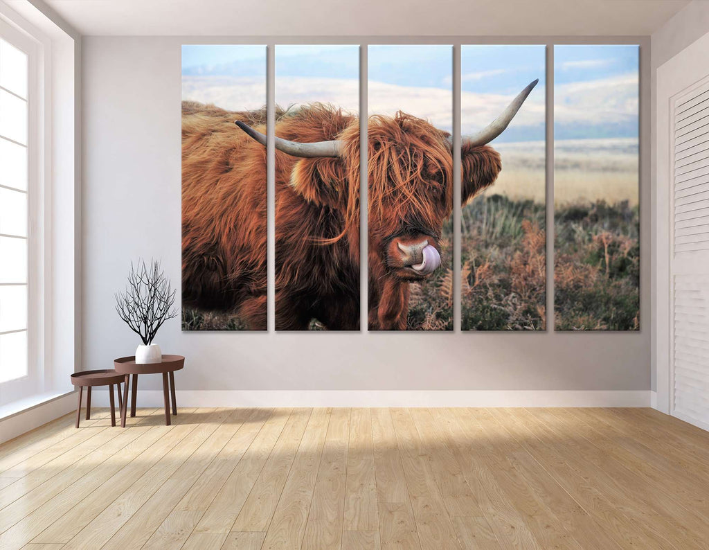 Hardy Scottish Highland Cows Living on Moorland №04131 Ready to Hang Canvas Print