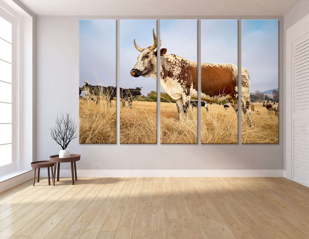 Nguni cow standing in field №04132 Ready to Hang Canvas Print