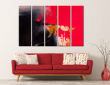 Bright Crimson And Black Fashionable Abstract №04407 Ready to Hang Canvas Print