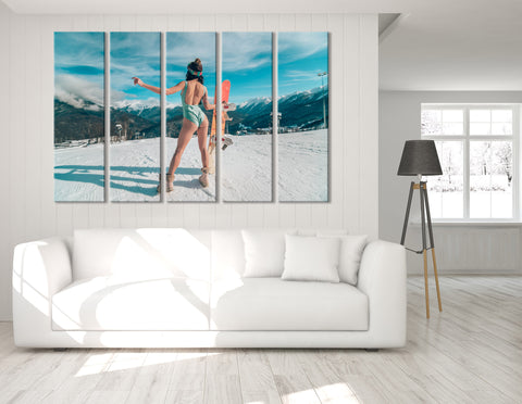 Girl In Bikini With The Snowboard №04427 Ready to Hang Canvas Print