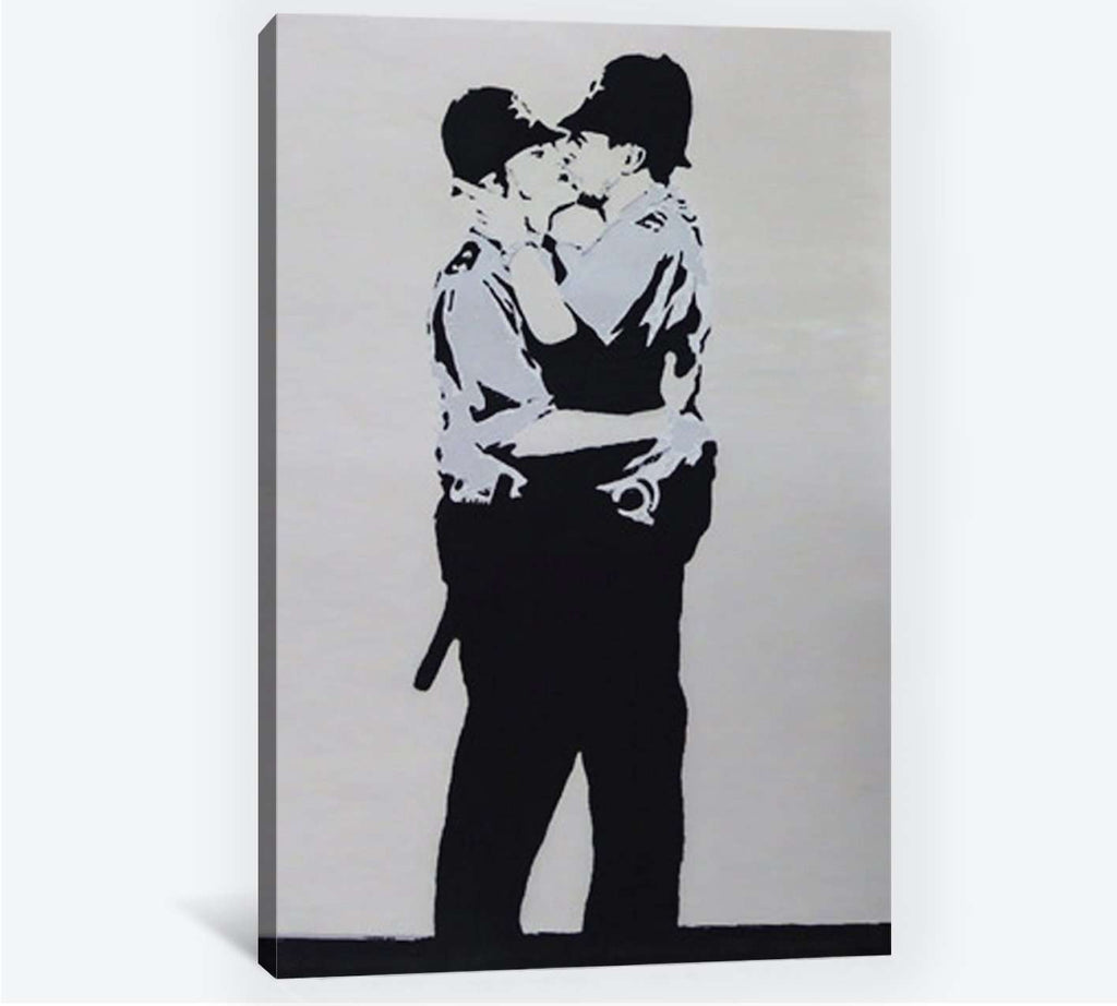 Banksy two policemen kissing - Ready to Hang Canvas Print