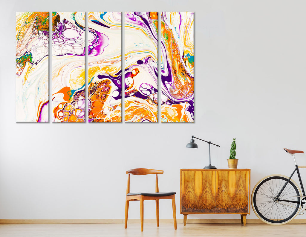 Orange, Purple And Yellow Abstract №04395 Ready to Hang Canvas Print