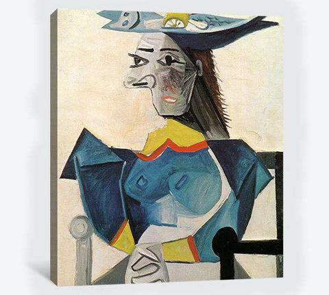 Pablo Picasso, Woman in a fish hat - Canvas print