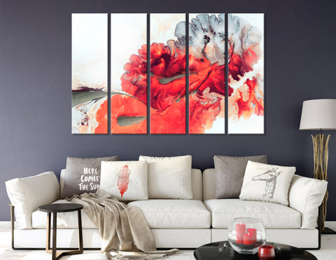 Bright Red Abstract №04385 Ready to Hang Canvas Print