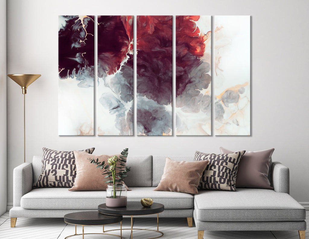 Burgundy Flowers Abstract №04413 Ready to Hang Canvas Print