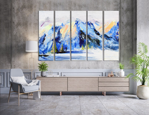 Snow-capped Mountains Abstract  №04253 Ready to Hang Canvas Print