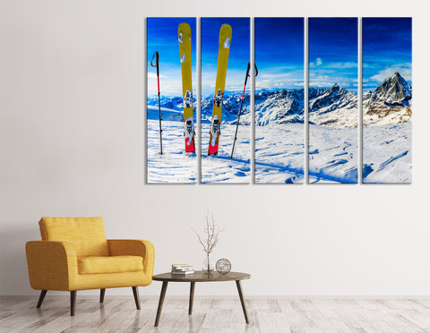 Ski On The Top Of Snowy Mountains In Sunny Day №04428 Ready to Hang Canvas Print