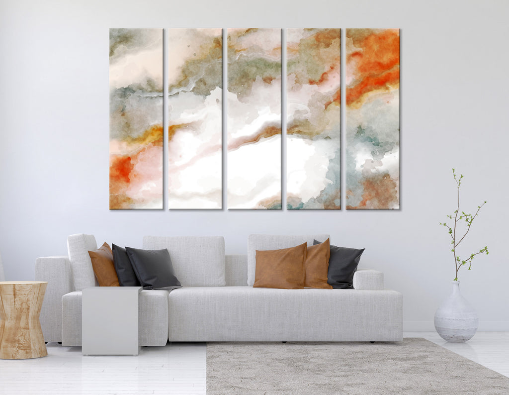 White And Orange Abstract №04337 Ready to Hang Canvas Print