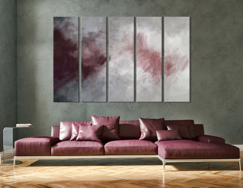 Burgundy And Gray Abstract №04378 Ready to Hang Canvas Print