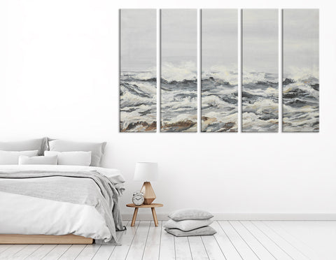 Blustery Ocean Abstarct №04328 Ready to Hang Canvas Print