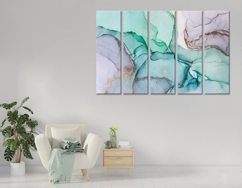 Light Purple, Green And Blue Abstract №04361 Ready to Hang Canvas Print