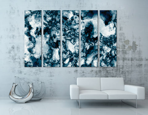 Dark Blue And White Abstract №04331 Ready to Hang Canvas Print