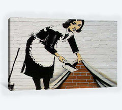 Banksy French maid sweeping - Ready to Hang Canvas Print