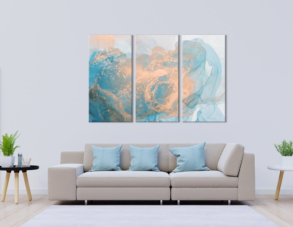 Ginger And Blue Abstract №04296 Ready to Hang Canvas Print