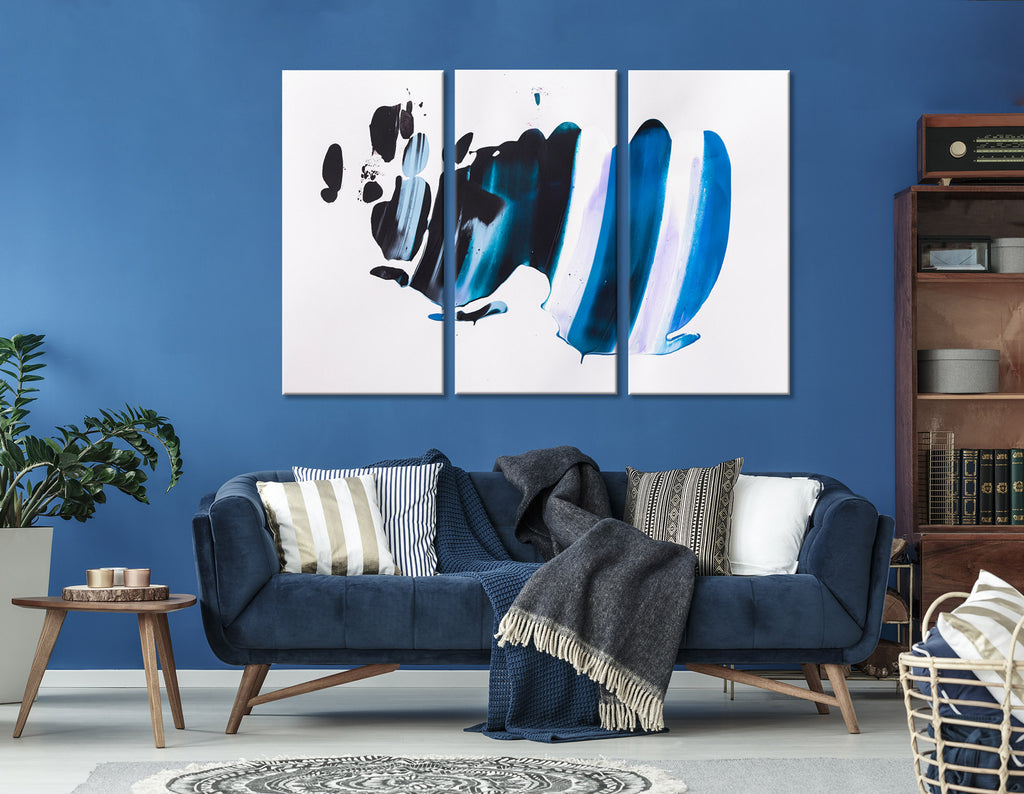 Blue And Black Abstract №04387 Ready to Hang Canvas Print