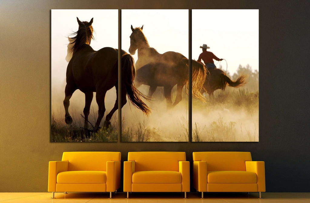 Running horses wall art №5004