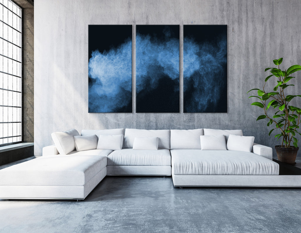 Blue Smoke Abstract №04351 Ready to Hang Canvas Print
