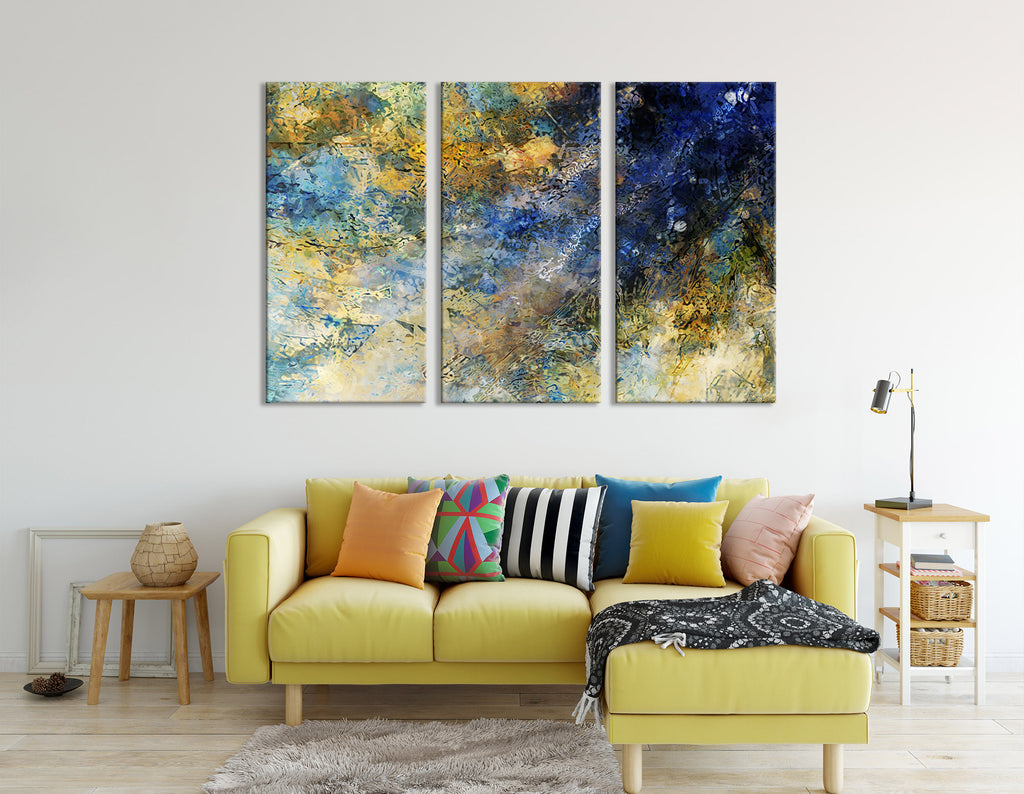 Dark Blue And Yellow Abstract №04346 Ready to Hang Canvas Print