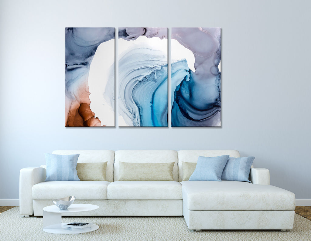 Blue, Purple And White Abstract №04383 Ready to Hang Canvas Print