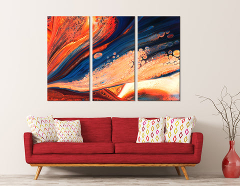 Flame-Colored And Blue Abstract №04308 Ready to Hang Canvas Print