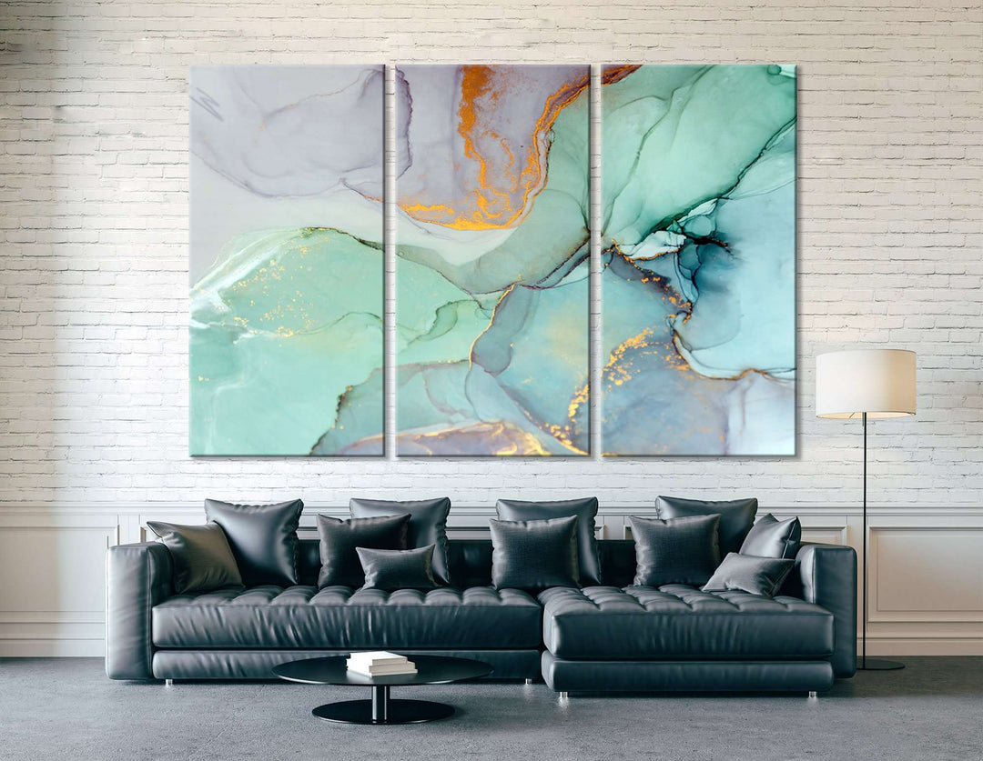 Teal Marble Artwork Ready to Hang Canvas Print