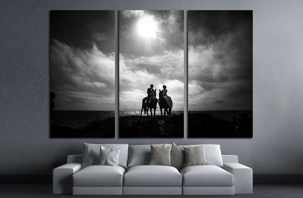 Black and white horse canvas print №5016