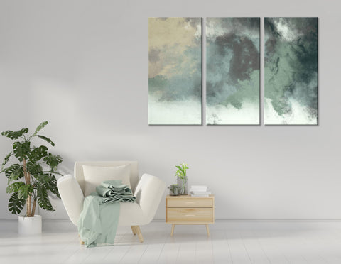 Green Smoke Abstarct №04370 Ready to Hang Canvas Print