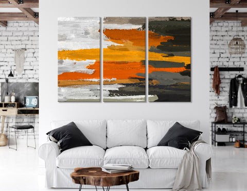 Brown, Gray And Orange Abstract №04365 Ready to Hang Canvas Print