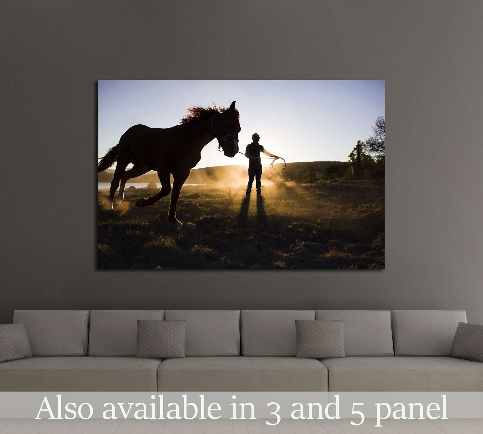 Sunrise and horse canvas print №5013