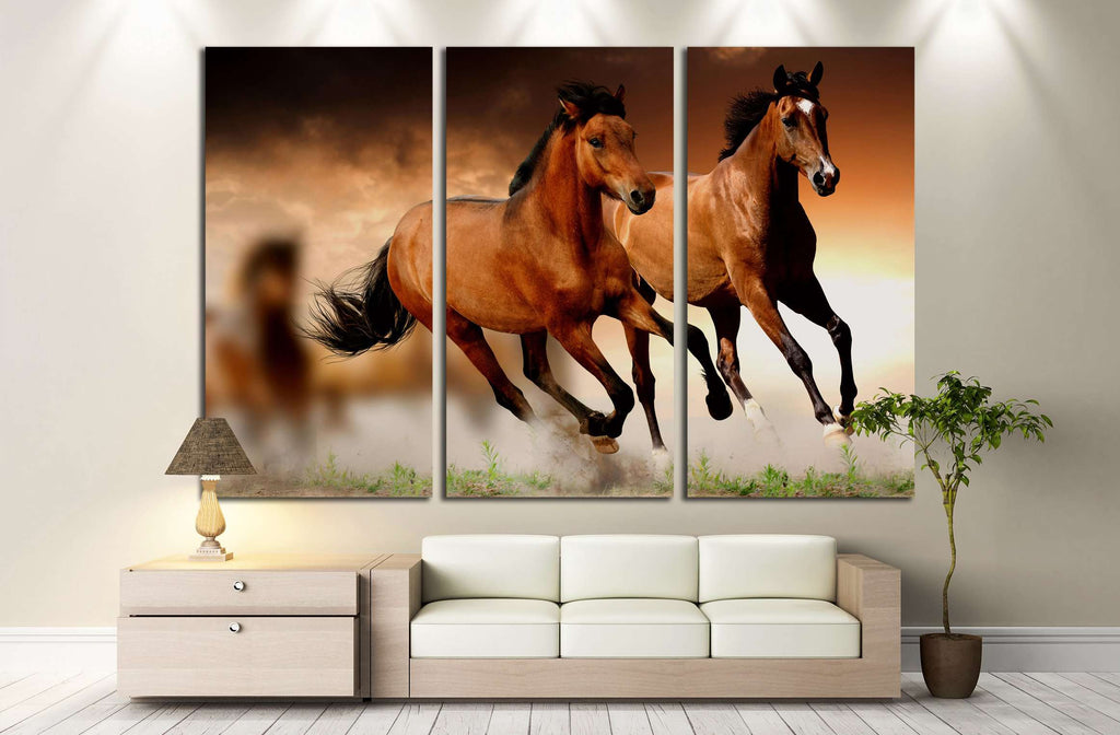 Two running horses canvas set №5000