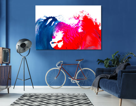 Blue And Crimson Waves Abstract №04390 Ready to Hang Canvas Print