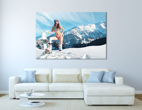 Girl With A Snowboard In The Mountains №04424 Ready to Hang Canvas Print