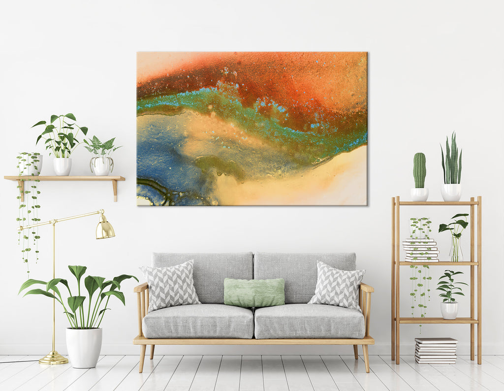 Orange, Blue, Yellow And Green Abstract №04283 Ready to Hang Canvas Print