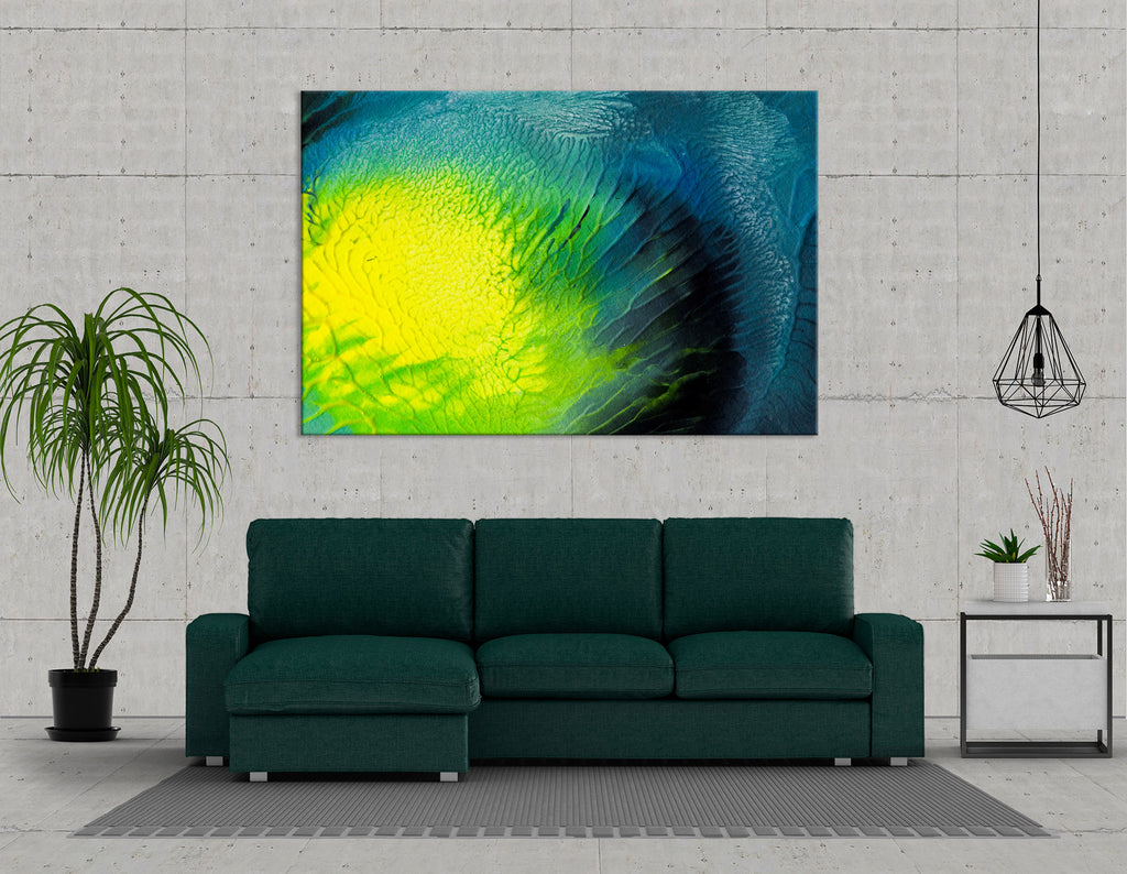 Yellow, Green And Blue Abstract №04300 Ready to Hang Canvas Print