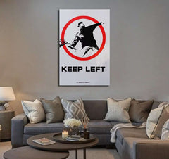 Banksy keep left - Ready to Hang Canvas Print