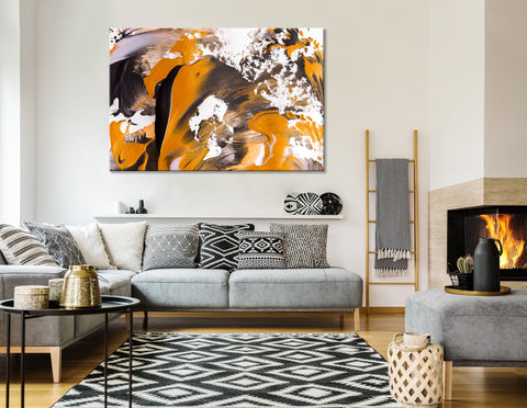 Orange, White And Black Stylish Abstract №04410 Ready to Hang Canvas Print