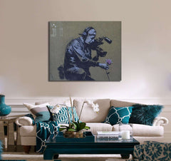Banksy Camera man and flower - Ready to Hang Canvas Print