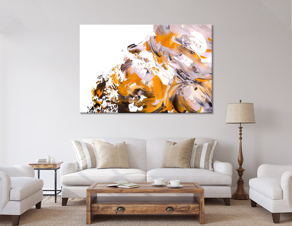 Orange And White Trendy Abstract №04409 Ready to Hang Canvas Print