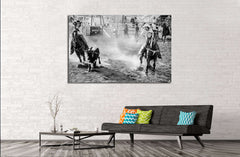 Black & white horses wall art №5002