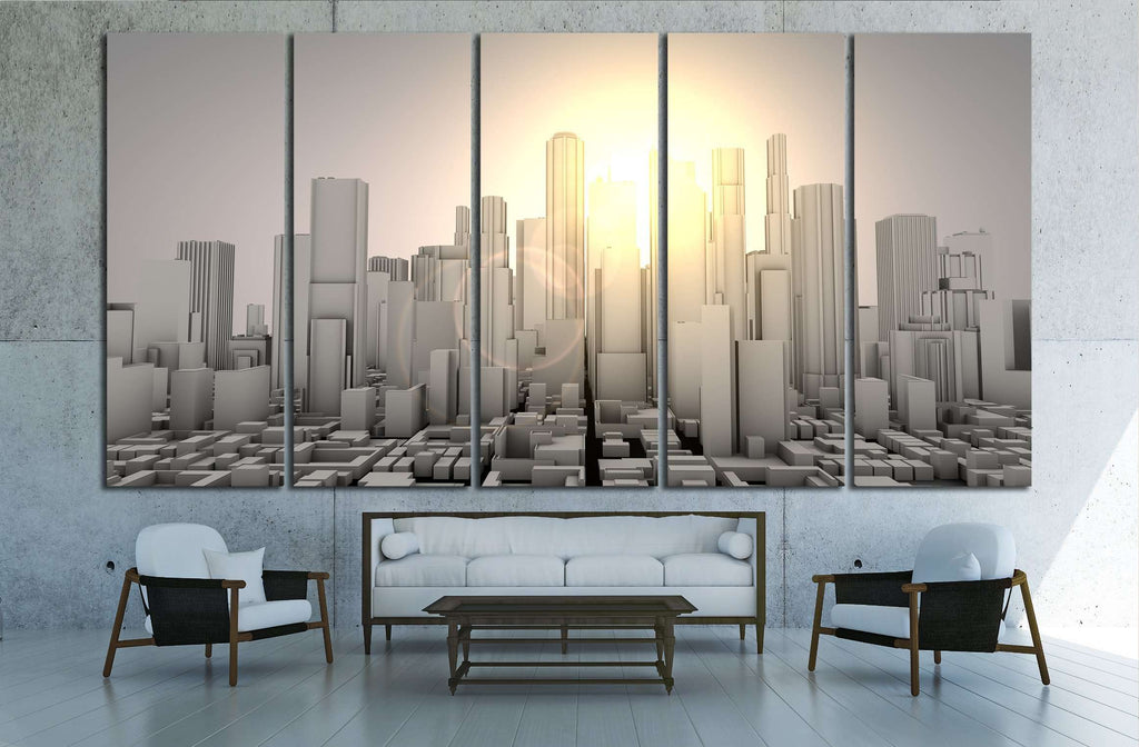 3D gray worldcity №2214 Ready to Hang Canvas Print